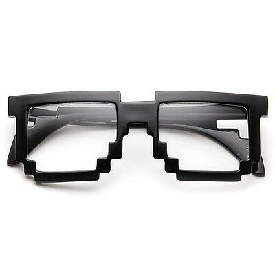Costumes Pixel Black Frame With Clear Lens Nerd Neardy Gamer - Neardy Glasses