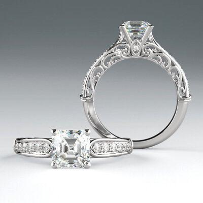 1.25 carat, 1.01 ct Asscher cut Diamond GIA I color VVS2 clarity Platinum Ring