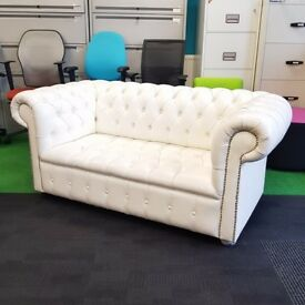 White Leather Chesterfield Style Sofa
