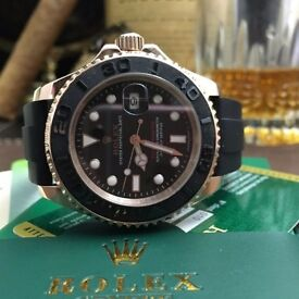 Rose Gold Rolex Yachtmaster Everose with Black Rubber Strap Comes Rolex BAGGED And Boxed