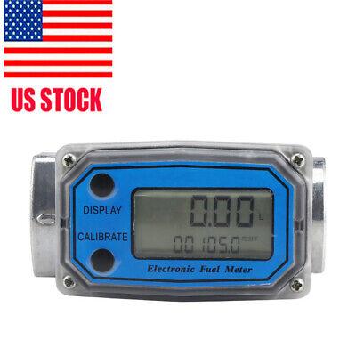 Liquid Turbine Flow Meter High Accuracy Digital Diesel Oil Fuel Flow Meter Blue