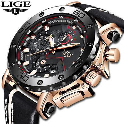 2019 LIGE New Fashion Mens Quart Leather Waterproof Sport Chronograph Watch