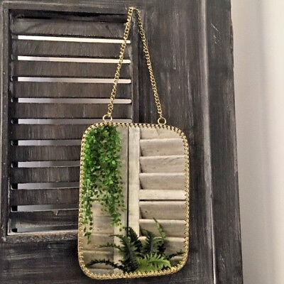 Small Rectangular Mirror Vintage Brass Metal Frame Wall Hanging Metal Chain Loop