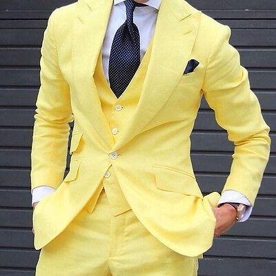 2019 New Yellow 3 Pieces Groom Tuxedo Best Men Formal Business Wedding Prom Suit (Prom Suit)