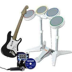 Wii, 2 Controllers with 2 Guitars and Drums!