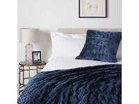 John Lewis & Partners Boutique Hotel Velvet Stitch Bedspread Blue, L260 x W250cm