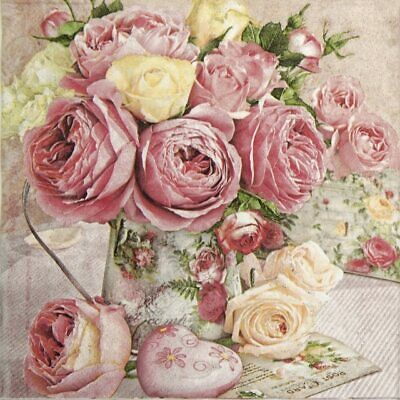 4x Paper Napkins for Decoupage Craft - Pink Roses in Vintage Vase
