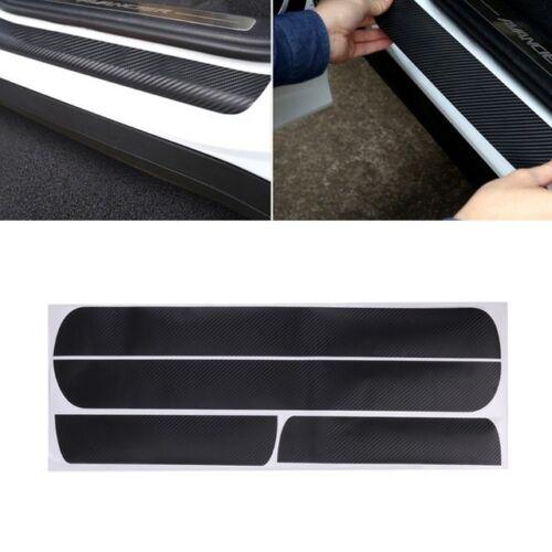 Red Sill Scuff Cover Car Door Plate Sticker 3D Carbon Fiber Look Anti Scratch