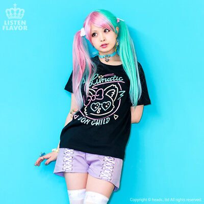 Lunatic Cat neon T-shirt [BLACK] LISTEN FLAVOR HARAJUKU KAWAII