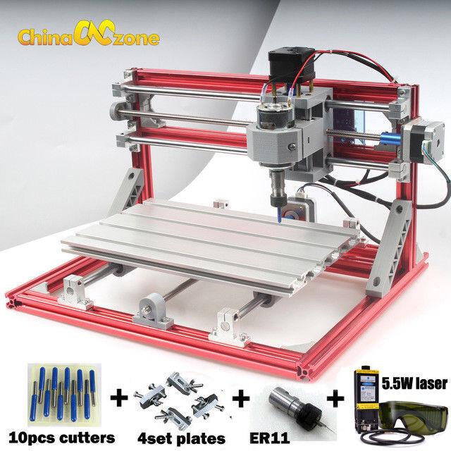 CNC 3018 Engraving Router&5.5W Laser Module Carving Milling DIY Cutting Machine