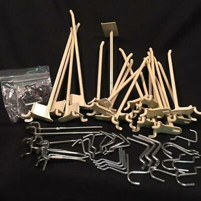 Lot Of 48 Peg Board Hooks - Variety Of Both Metal And Plastic