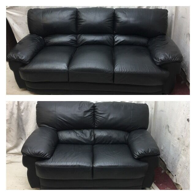 Black leather 3/2 seater sofas excellent condition