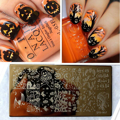 Nail Art Stamping Plates Image Plate HALLOWEEN Pumpins Bat Ghost Witch Boo SP07