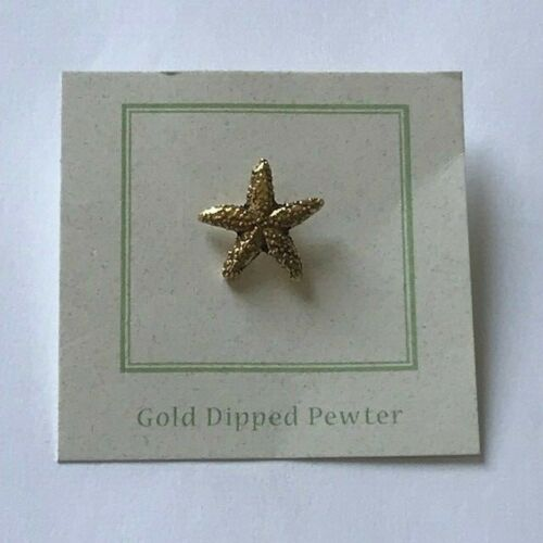Gold Dipped Pewter Lapel Pin Jim Clift Starfish New in Package Lead Free Pewter
