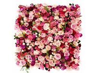 Pink Red Wedding Flower Wall Backdrop Hire only £249 10ft x 10ft FREE LONDON DELIVERY AND COLLECTION