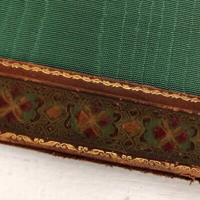 Antique 1900s Picture Matt for Frame Gold Emboss, Brown Leather red green (Green Gold Pictures)