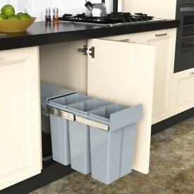 Recycle Pull Out Kitchen Cupboard Waste Dust-Recycling Bin 3x10 Litre