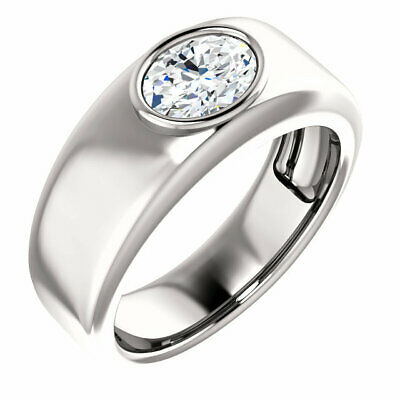 GIA 0.50 carat E SI2 Oval Shape Diamond Engagement 14K White Gold Mens Ring