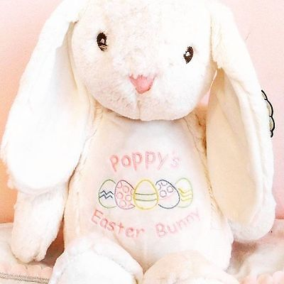 Personalised Easter Bunny teddy.embroidered with name baby gift. keepsake