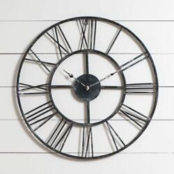 Large Rustic Wall Clock in Distressed Tin