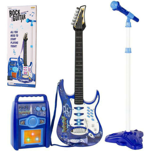 Kids Blue Electric Guitar Set MP3 Player Learning Toys Microphone, Amp