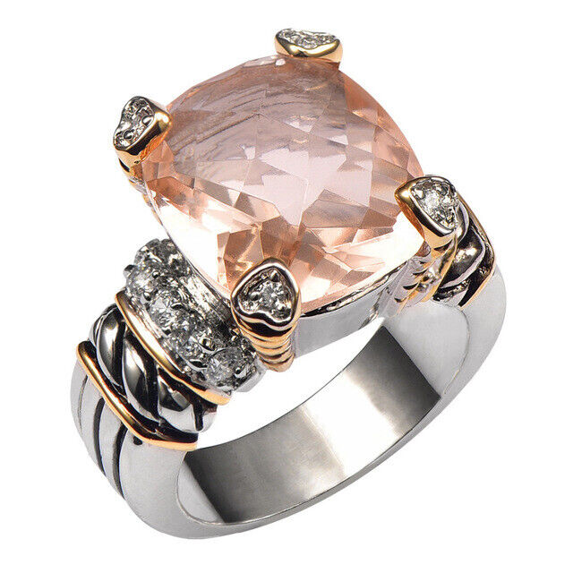 Ring Morganite 925 Silver Sterling Jewelry High Quality Ring Women Wedding Ring Fine Jewelry