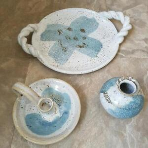 """Pottery - 3 pce - 8"""" tray, candle stick holder, small flower vas"""