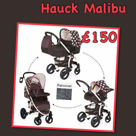 XD HAUCK MALIBU XL TRAVEL SYSTEM BLACK WHITE DOTS GIRLY PRAM PUSHCHAIR CAR SEAT CARRYCOT RAINCOVER
