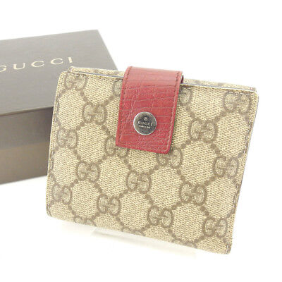 012c343acbe Gucci Wallet Purse Folding wallet GG Plus Beige Brown Woman Authentic Used  S186