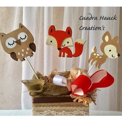Fox centerpieces stick/ Woodland baby shower/ Woodland theme/ Deer/ Fox/ Owl ](Owl Centerpieces)