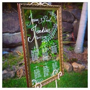 SEATING PLAN GOLDEN FRAME MIRROR WEDDING HIRE