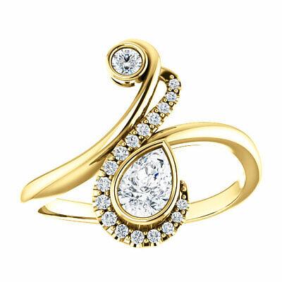 Diamond Bezel-Set Bypass Ring In 14K Yellow Gold (1/2 ct. tw.) 1/2 Ct Diamond Pear Bezel