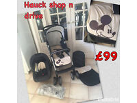 NEW HAUCK SHOOP N DRIVE 2 IN 1 TRAVEL SYSTEM PRAM PUSHCHAIR BUGGY IN CLASSIC MICKEY FROM BIRTH