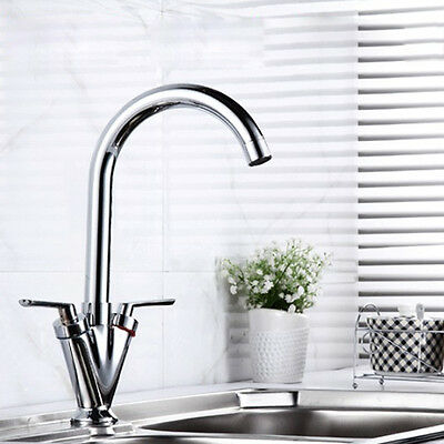 New TWIN LEVER SWIVEL SPOUT MODERN CHROME KITCHEN SINK BASIN MIXER TAP UK