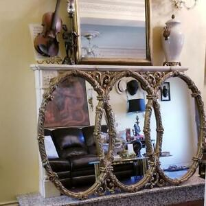 Hollywood Regency Triple Overlapping Large Mirror