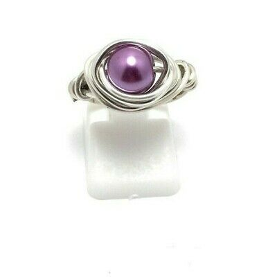 Sterling Silver Wire Wrapped ring Purple Pearl Ring women handmade jewelry