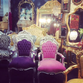 purple & silver french style chair with arms