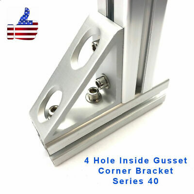 4 Hole Inside Gusset Corner - 4040 8020 Aluminum Profile Extrusion Set Of 2