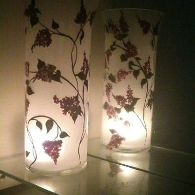 Art Tea Light Candle Holder One Tall Frosted Glass Vase Red Little Flowers 9""