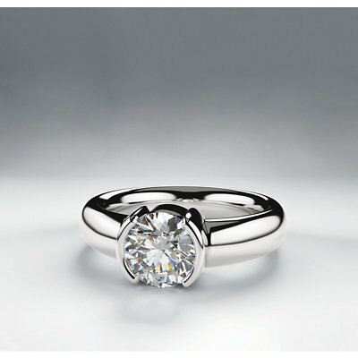 1.01 carat Round Diamond 14k White Gold Solitaire Ring GIA cert H SI1