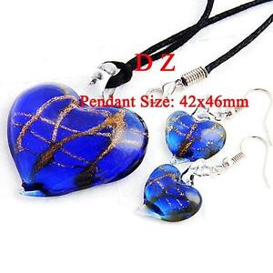 Vogue Blue Lampwork Glass Heart Bead Necklace Earrings set-NEW!!