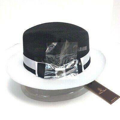 Steven Land Men's Dark Black White Fedora Hat Signature Collection Sizes S -XL - Black And White Fedora Hat