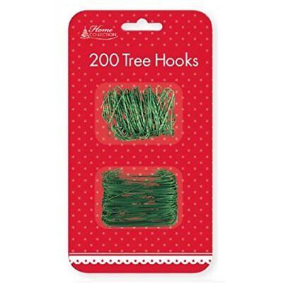 200 x Christmas Xmas Green Wire Plastic Tree Hooks Bauble Ornament Decoration (Plastic Christmas Decorations)