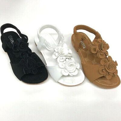 Girls Kid Rhinestone Flower Loop Fasteners Summer Sandals Size 11-5](Flower Girls Shoes)