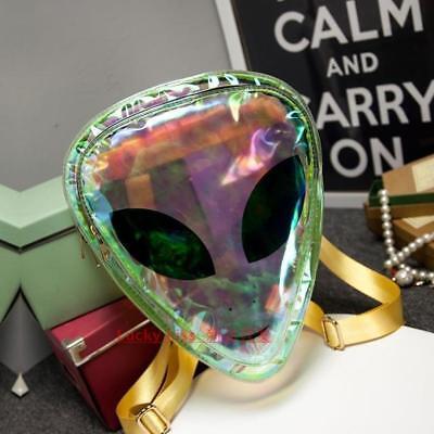Clear Alien Backpack (Holographic Alien Backpack Laser Transparent Hologram Head Bag UFO)