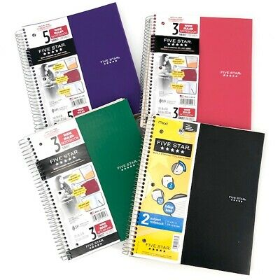 Five Star Set Of 4 Notebooks 2 3 5 Subject Largecollege Ruled Black Green Pin