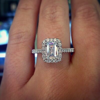 2.10 Ct Natural Emerald Cut Halo w/ Bow Diamond Engagement Ring F/VS2 GIA 14kwg