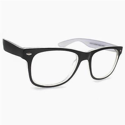 Geek Nerd Clear Lens GLASSES Black White Retro Fashion Way Designer Vintage