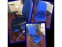 CLEARANCE Blue Fabric Mobile Comfortable Office Chair with Lift/Tilt & Arms