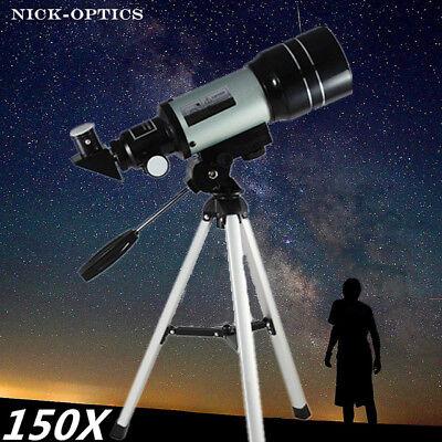 150X Pocket-sized Terrestrial Astronomical Refractor 300x70mm Tabletop Telescope
